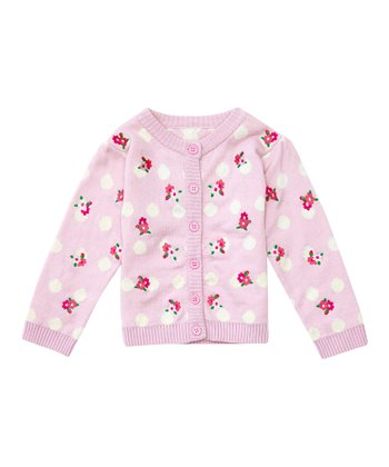 Pink Rose Embroidered Cardigan - Infant, Toddler & Girls