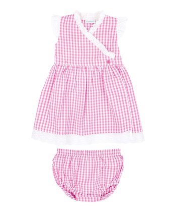 Pink Gingham Seersucker Wrap Dress & Diaper Cover - Infant
