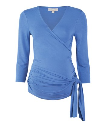 Blue Maternity Wrap Top