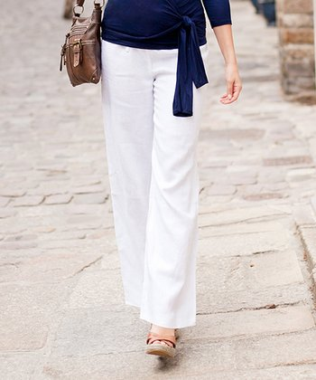 White Linen over-Belly Maternity Trouser Pants