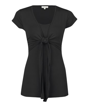 Black Tie-Front Nursing Top