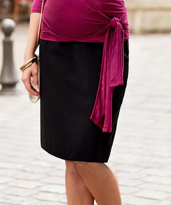 Black Over-Belly Maternity Pencil Skirt