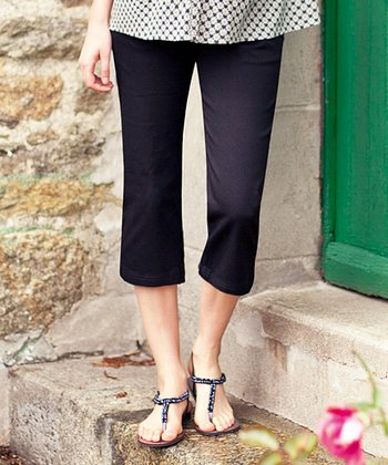 Black Twill Under-Belly Maternity Capri Pants