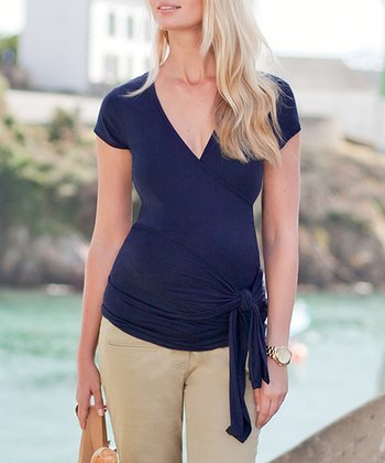 Midnight Short-Sleeve Maternity Wrap Top