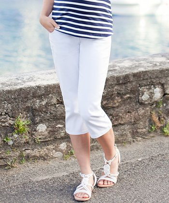 White Under-Belly Maternity Capri Jeans