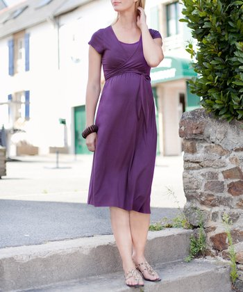 Grape Maternity & Nursing Wrap Dress