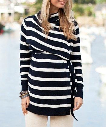 Navy & Ecru Stripe Four-Way Maternity & Nursing Open Cardigan