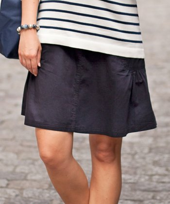 Navy Over-Belly Maternity Cargo Skirt