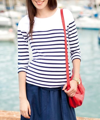 White & Navy Stripe Maternity Top
