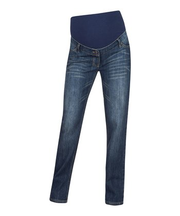 Indigo Classic-Wash Over-Belly Maternity Straight-Leg Jeans