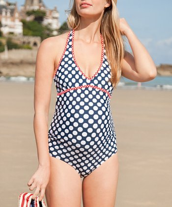 Navy & White Polka Dot Halter One-Piece