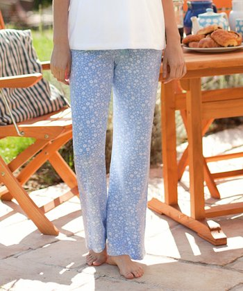 Blue Over-Belly Maternity Pajama Pants