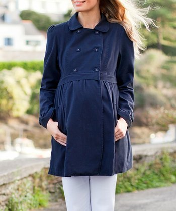 Navy Double-Breasted Maternity Coat