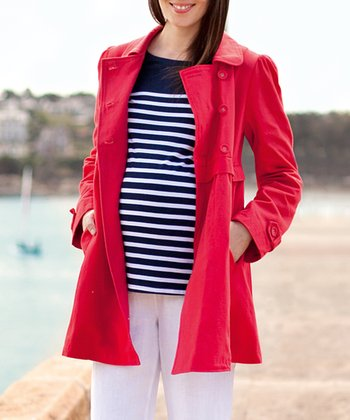 Red Double-Breasted Maternity Coat