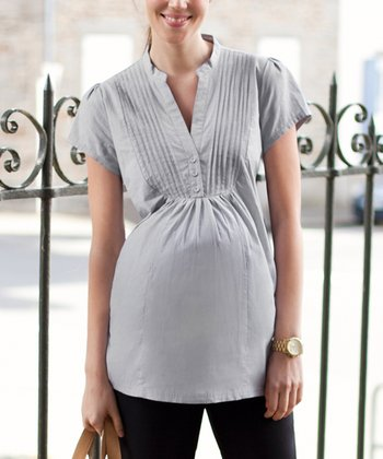 Gray & White Stripe Maternity Top
