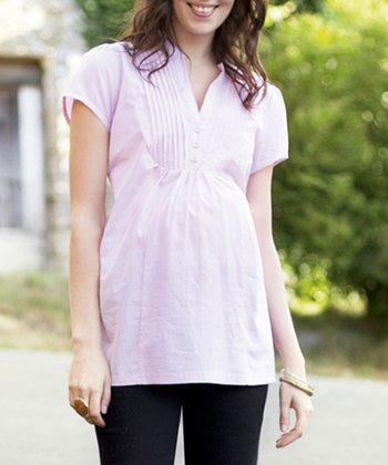Pink & White Stripe Maternity Top