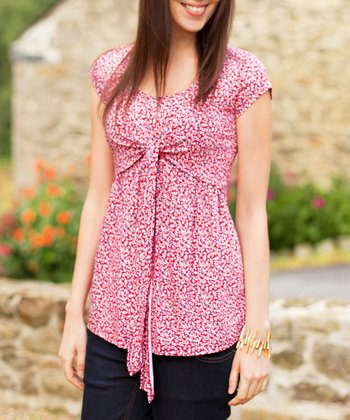 Red Floral Nursing Top