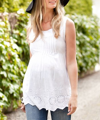 White Lace Pretty Maternity Sleeveless Top