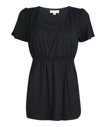 Black Nursing Surplice Top