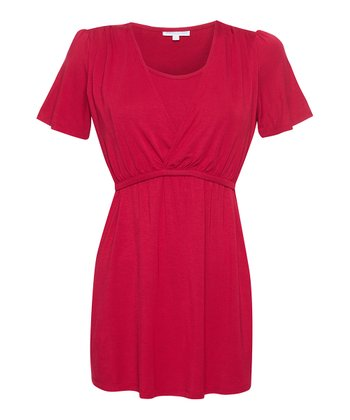 Red Nursing Surplice Top