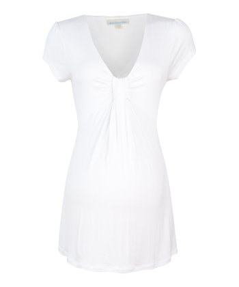 White Gathered Maternity Top