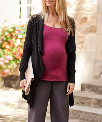 Black Four-Way Maternity Open Cardigan