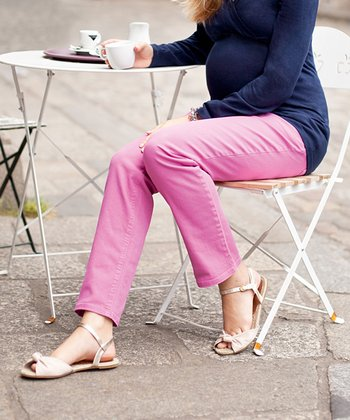 Pink Twill Over-Belly Maternity Straight-Leg Jeans