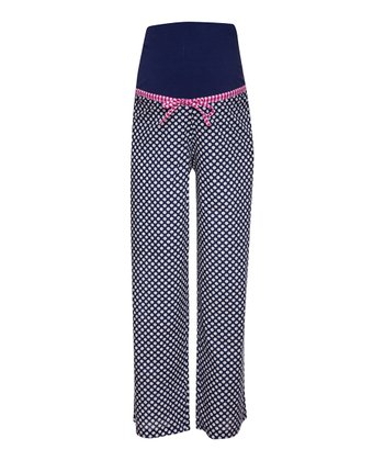 Navy & Cream Spot Over-Belly Maternity Pajama Pants