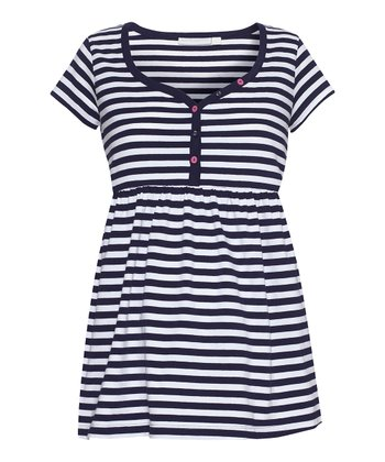 Navy & White Stripe Maternity & Nursing Sleep Top
