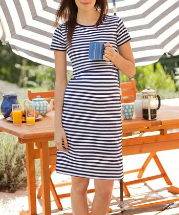 Navy & White Stripe Maternity & Nursing Nightgown