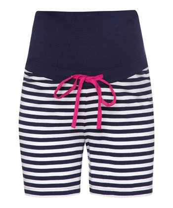 Navy & White Stripe Over-Belly Maternity Boxers