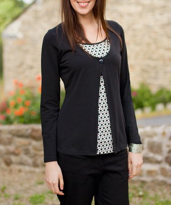 Black Mosaic Nursing Layered Top
