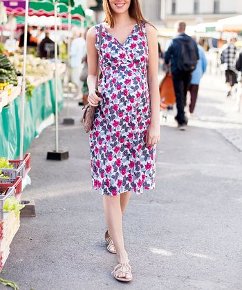 Fuchsia Floral Maternity Surplice Dress - Women