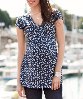 Navy Floral Gathered Maternity Top