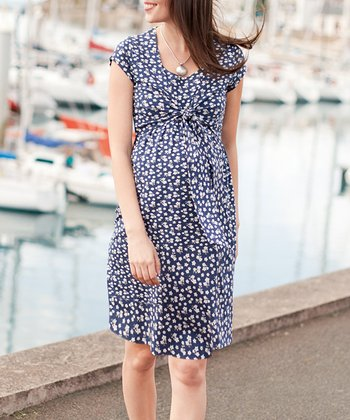 Navy Floral Maternity & Nursing Dress