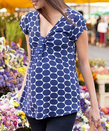 Navy Spot Maternity Top