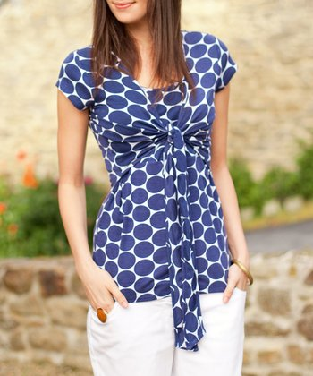 Navy Spot Tie-Front Nursing Top