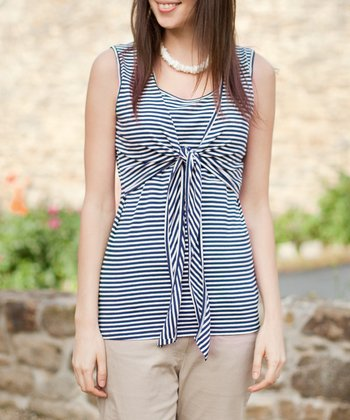 Navy & Cream Stripe Tie-Front Nursing Sleeveless Top