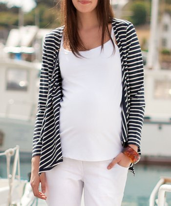 Navy & Cream Stripe Open Cardigan
