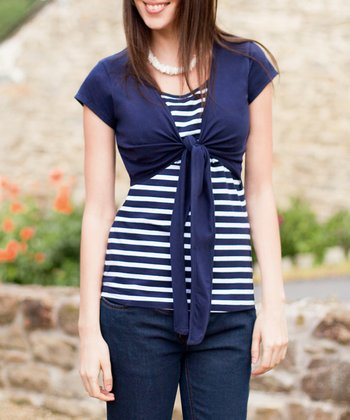 Navy & White Stripe Tie-front Nursing Top