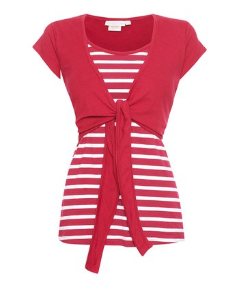 Red & White Stripe Tie-front Nursing Top