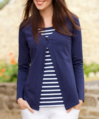 Navy & White Stripe Nursing Layered Top