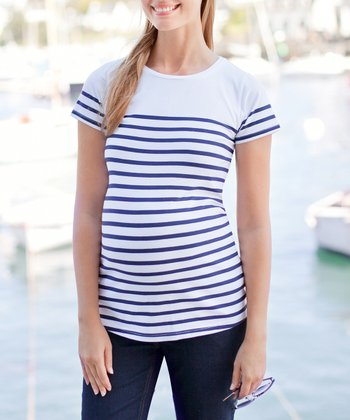 White & Navy Stripe Maternity Short-Sleeve Top
