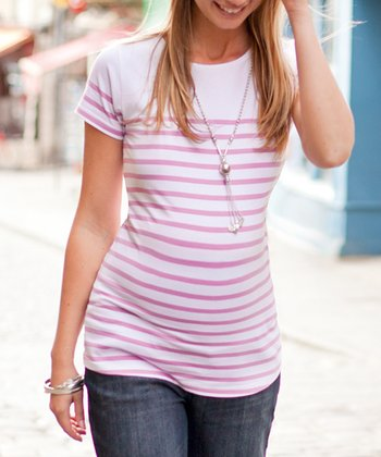 White & Pink Stripe Maternity Short-Sleeve Top