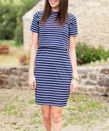 Navy & White Stripe Nursing Dress