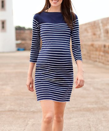 Navy Stripe Maternity Dress