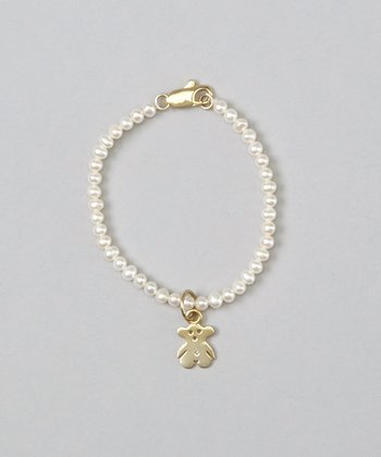 White Pearl & Teddy Bear Bracelet
