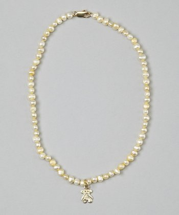 Yellow Pearl & Teddy Bear Necklace