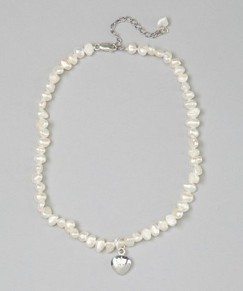 White Pearl & Heart Necklace