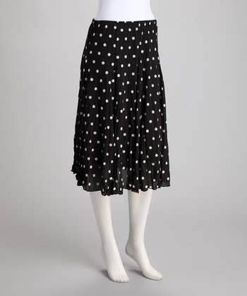 Black & White Polka Dot Crinkle Skirt